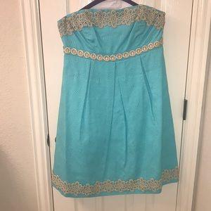 Lilly Pulitzer Seafoam Strapless Dress SIZE 8